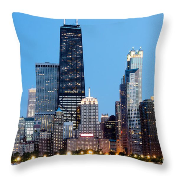 Chicago Downtown At Night With John Hancock Building Throw Pillow by Paul Velgos