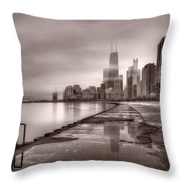 Chicago Foggy Lakefront BW Throw Pillow by Steve Gadomski