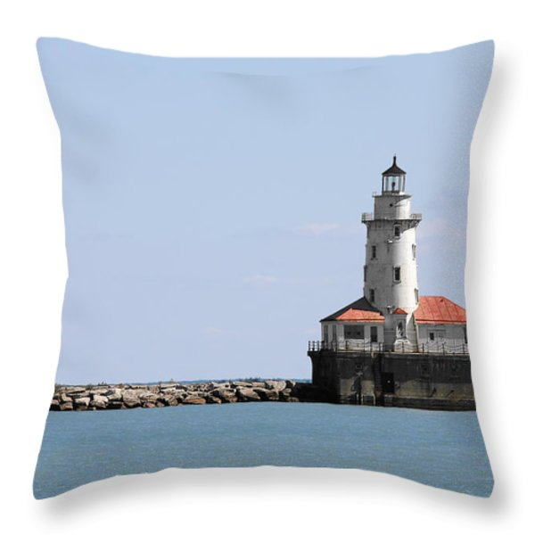 Chicago Harbor Light Throw Pillow by Christine Till