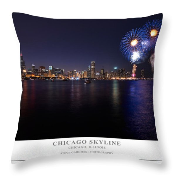 Chicago Lakefront Skyline Poster Throw Pillow by Steve Gadomski