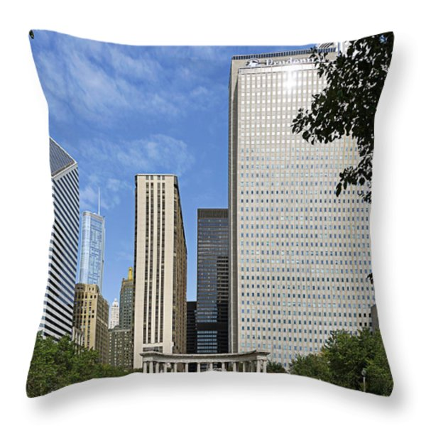 Chicago Millennium Monument and Fountain Throw Pillow by Christine Till