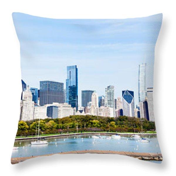 Chicago Panorama Skyline Throw Pillow by Paul Velgos