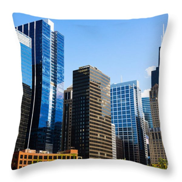 Chicago Skyline Downtown City Buildings Throw Pillow by Paul Velgos