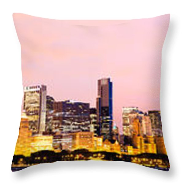 Chicago Skyline Panoramic Throw Pillow by Paul Velgos