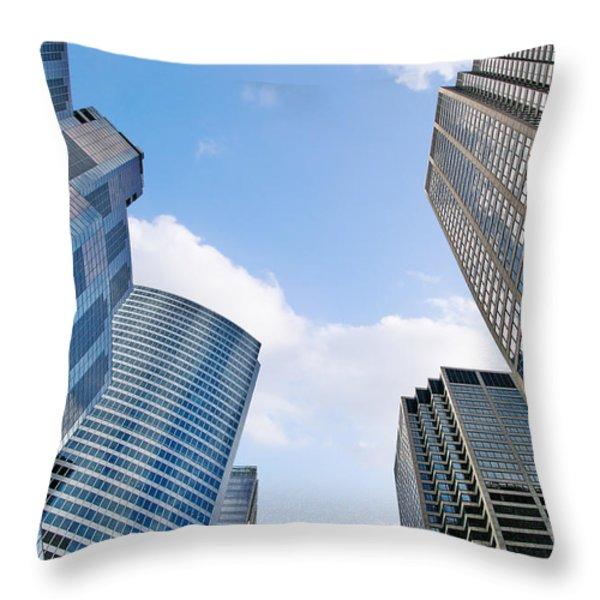 Chicago - Skyscrapers are looking down on us Throw Pillow by Christine Till