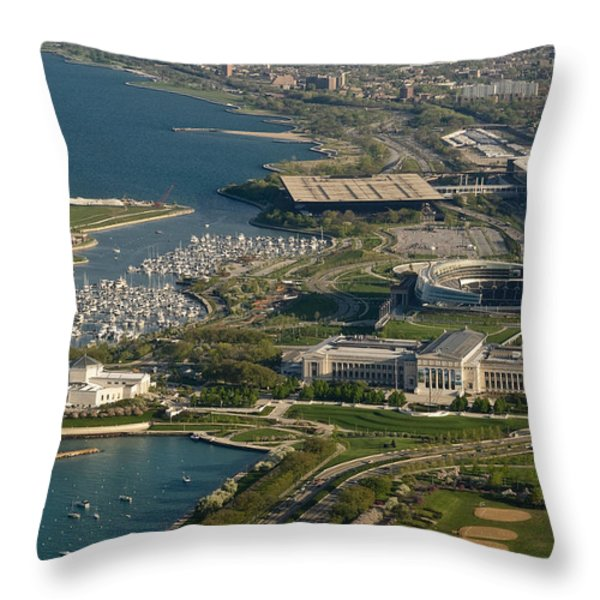 Chicagos Lakefront Museum Campus Throw Pillow by Steve Gadomski