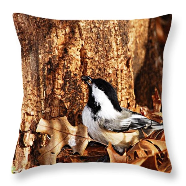 Chickadee With Sunflower Seed Throw Pillow by Larry Ricker