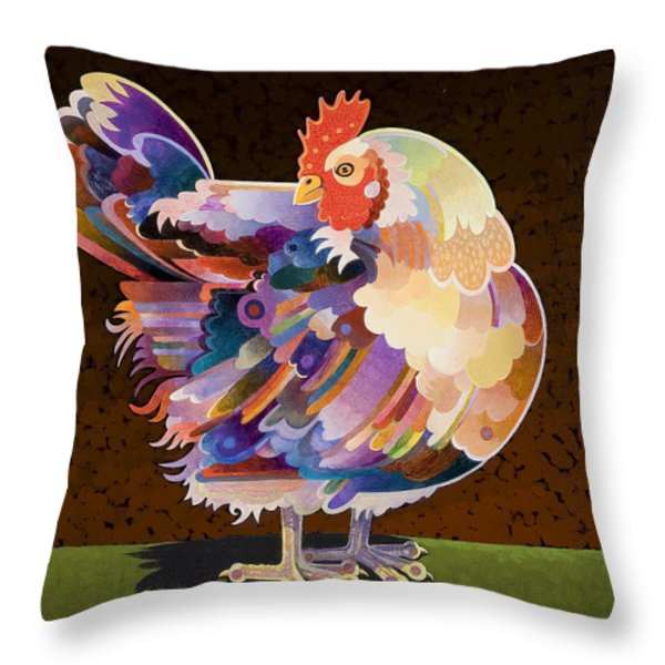 Chicken from Jamestown Throw Pillow by Bob Coonts