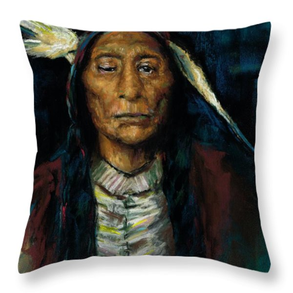 Chief Niwot Throw Pillow by Frances Marino