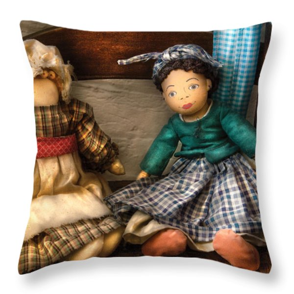 Children - Toys -  Dolls Americana  Throw Pillow by Mike Savad