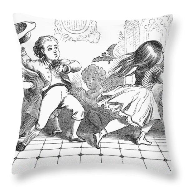 Children And Bat Throw Pillow by Granger