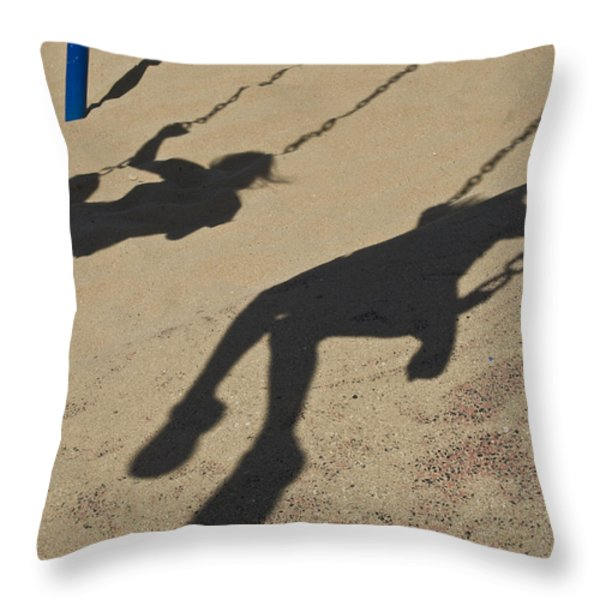 Children Cast Body Shadows In The Sand Throw Pillow by Stacy Gold