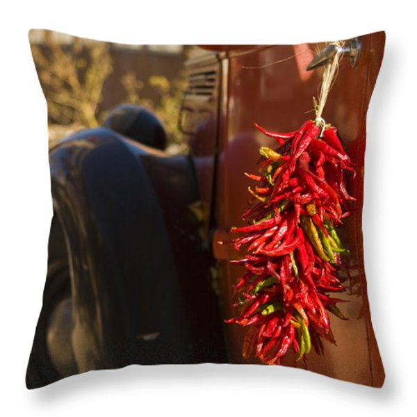 Chile Hang From The Door Of An Old Throw Pillow by Ralph Lee Hopkins