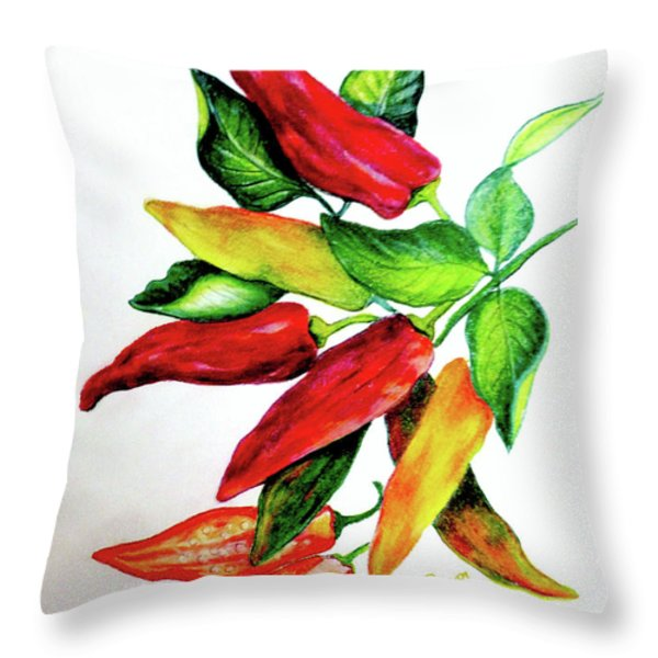 Chillies From My Garden Throw Pillow by KARIN KELSHALL- BEST