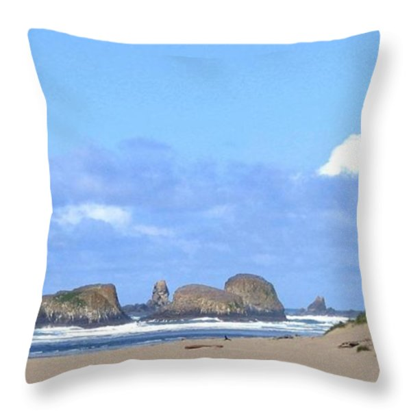 Chimneys Of Cannon Beach Throw Pillow by Will Borden