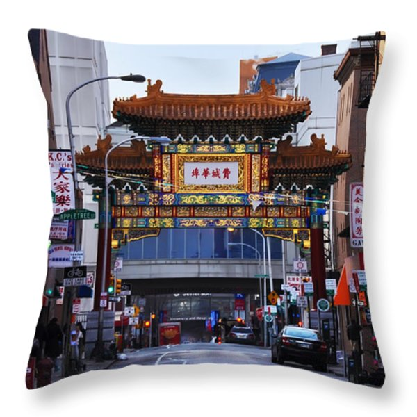 Chinatown - Philadelphia Throw Pillow by Bill Cannon