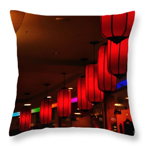 Chinatown - Colorful Shopping Mall Throw Pillow by Kaye Menner