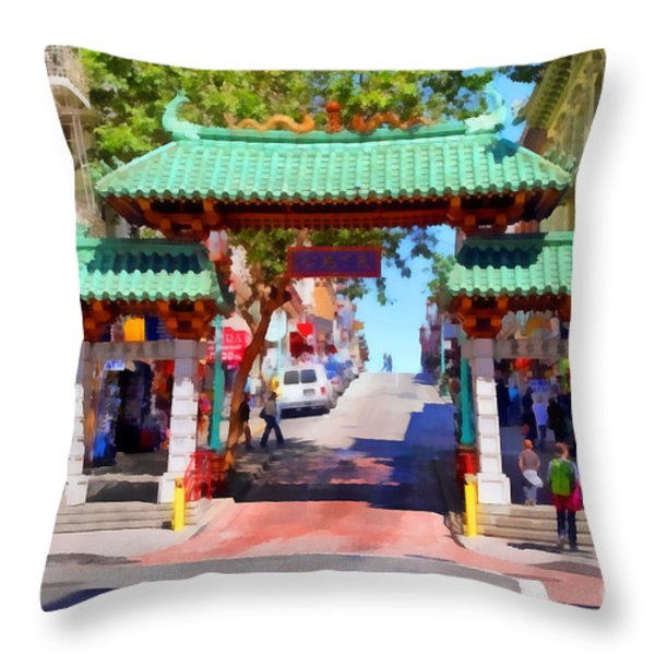 Chinatown Gate In San Francisco . 7d7139 Throw Pillow by Wingsdomain Art and Photography