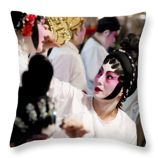 Chinese Opera Performers Prepare Throw Pillow by Justin Guariglia