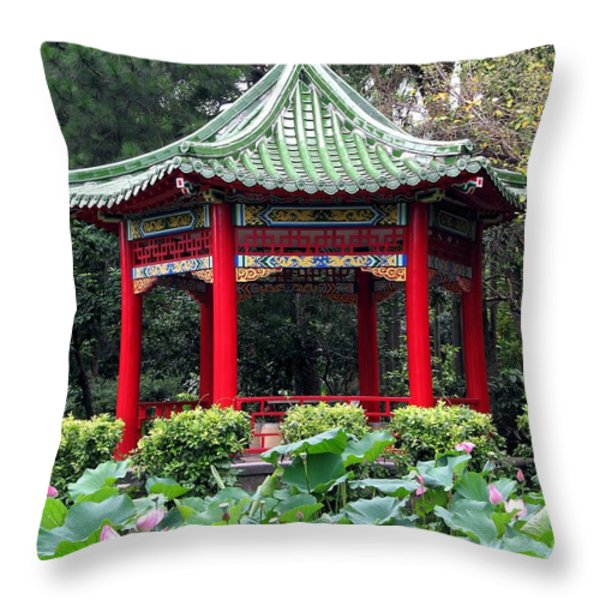 Chinese Pavilion And Lotus Flowers Throw Pillow by Yali Shi