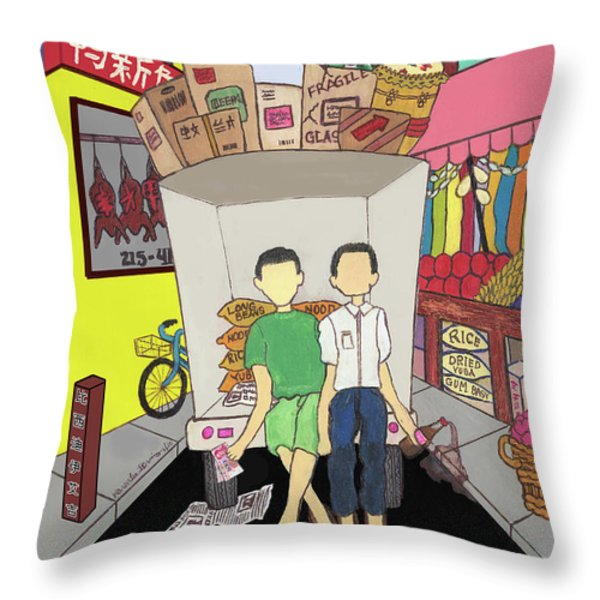 Chinese Town Throw Pillow by Karen-Lee
