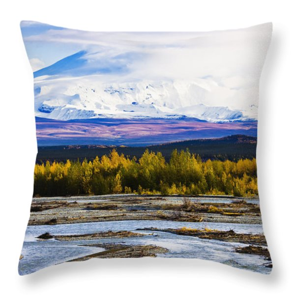Chistochina River And Mount Sanford Throw Pillow by Yves Marcoux