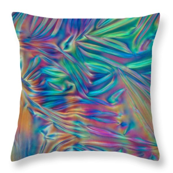 Cholesteric Liquid Crystals Throw Pillow by Michael Abbey and Photo Researchers