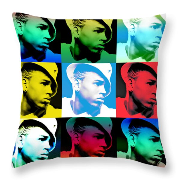 Chris Brown Warhol By Gbs Throw Pillow by Anibal Diaz