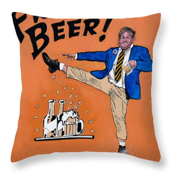 Chris Farley Throw Pillow by Tom Roderick