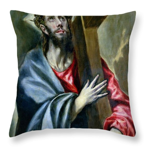 Christ Clasping The Cross Throw Pillow by El Greco