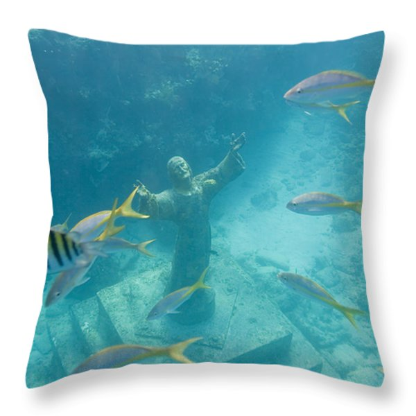 Christ Of The Deep Statue In A Coral Throw Pillow by Mike Theiss