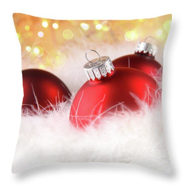 Christmas Balls With Abstract Holiday Background Throw Pillow by Sandra Cunningham