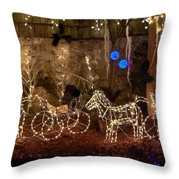 Christmas Carriages Throw Pillow by DigiArt Diaries by Vicky B Fuller