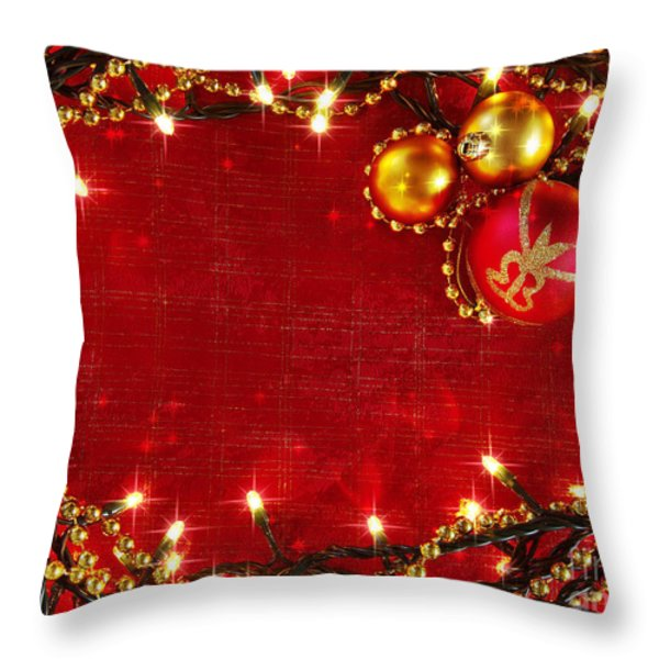 Christmas Frame Throw Pillow by Carlos Caetano
