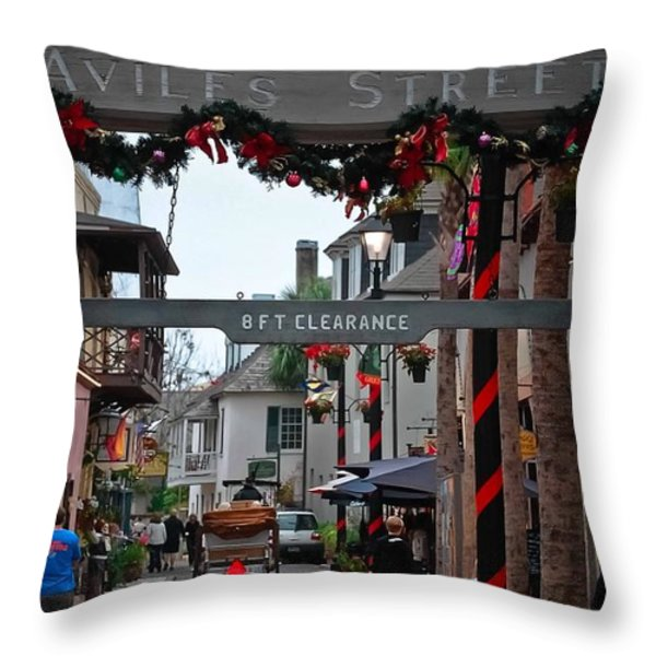 Christmas on Aviles Street Throw Pillow by DigiArt Diaries by Vicky B Fuller