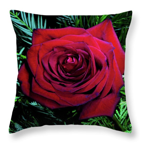 Christmas Rose Throw Pillow by Mariola Bitner