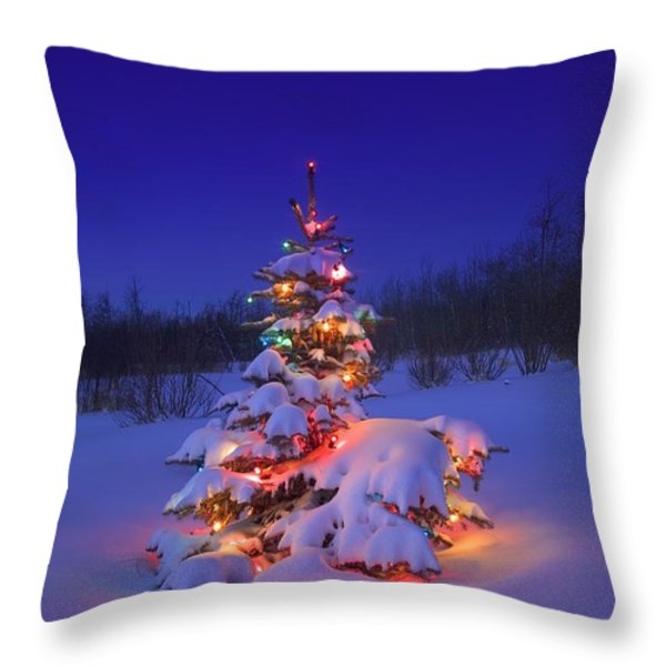 Christmas Tree Glowing Throw Pillow by Carson Ganci