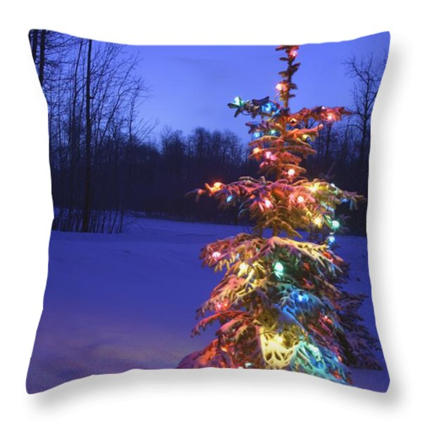 Christmas Tree Outdoors Under Moonlight Throw Pillow by Carson Ganci