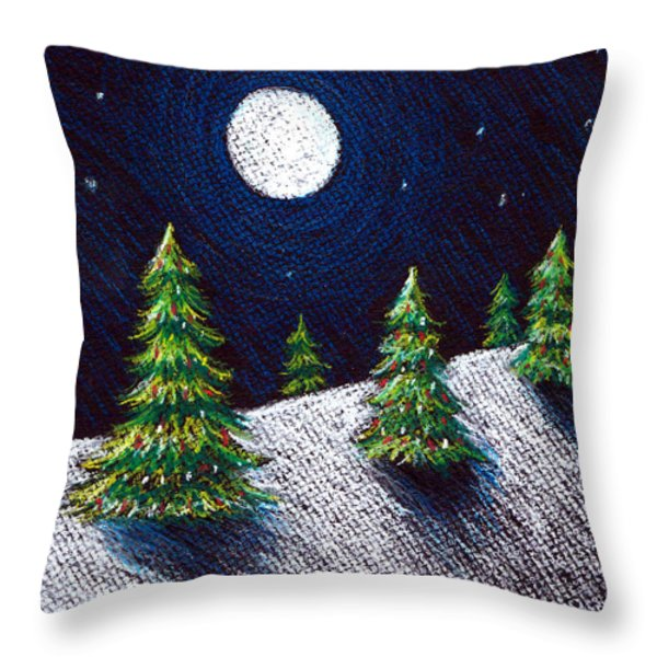 Christmas Trees II Throw Pillow by Nancy Mueller