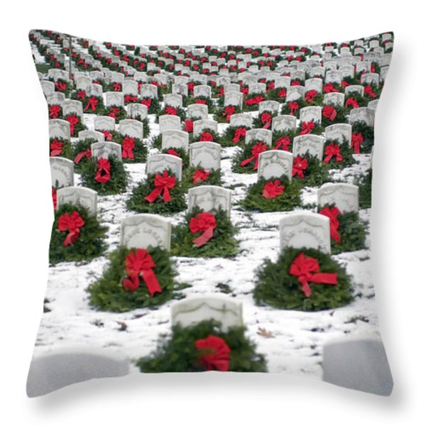 Christmas Wreaths Adorn Headstones Throw Pillow by Stocktrek Images