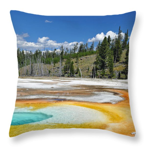 Chromatic Pool Yellowstone National Park Throw Pillow by Bruce Gourley