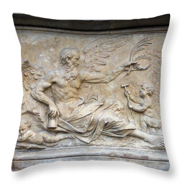 Chronos Relief In Gdansk Throw Pillow by Artur Bogacki