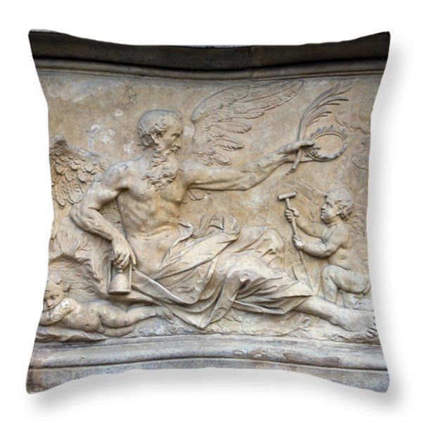 Chronos Relief in Gdansk Throw Pillow by Artur Bogacki