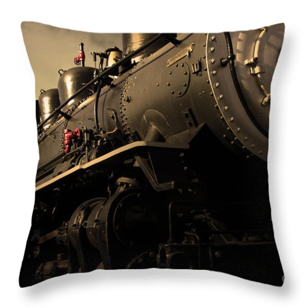 Chugging Across America In The Age Of Steam . Golden Cut . 7d12980 Throw Pillow by Wingsdomain Art and Photography