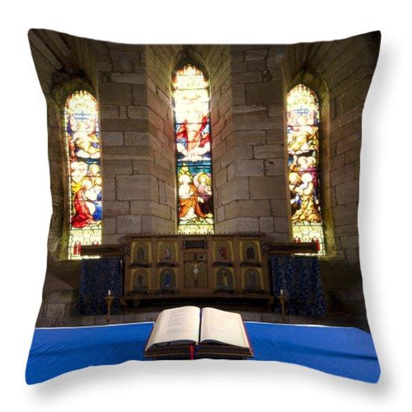 Church And Open Bible, Holy Island Throw Pillow by John Short
