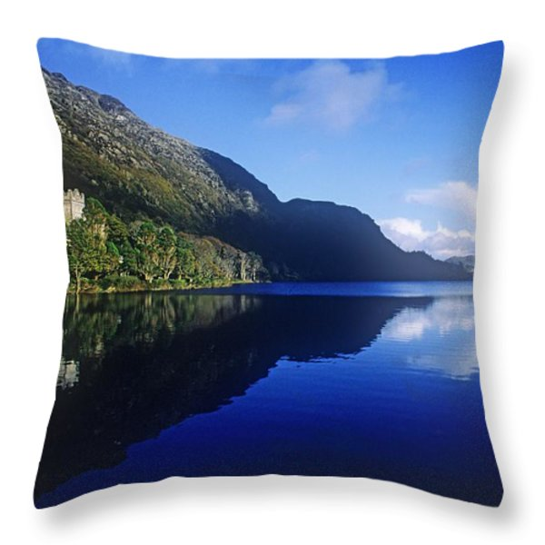 Church At The Waterfront, Kylemore Throw Pillow by The Irish Image Collection