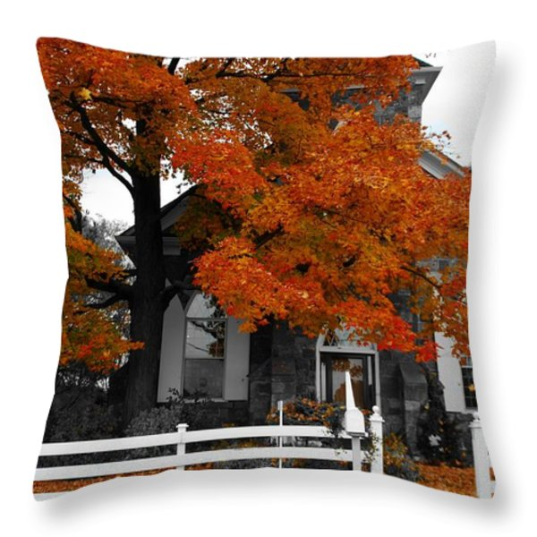 Church In Autumn Throw Pillow by Andrea Kollo