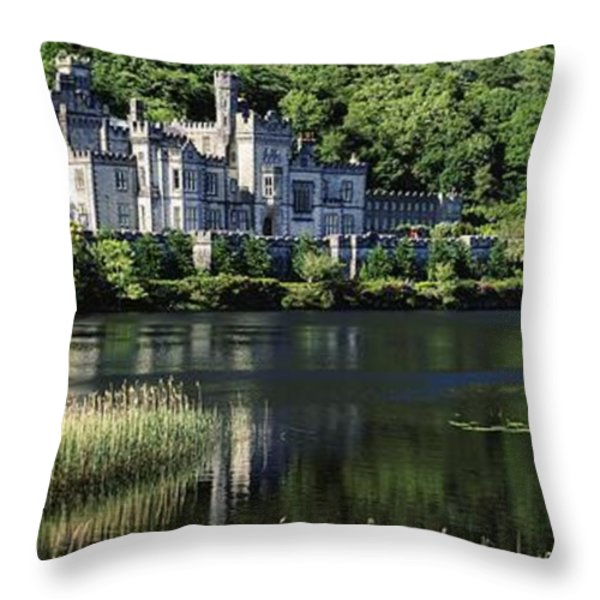 Church Near A Lake, Kylemore Abbey Throw Pillow by The Irish Image Collection