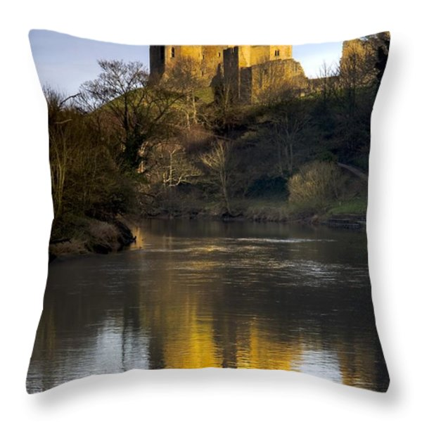 Church Reflection In Water, Warkworth Throw Pillow by John Short