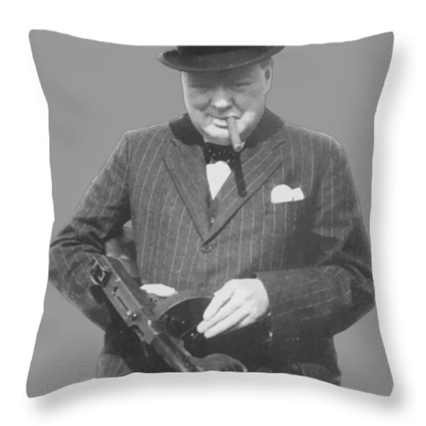Churchill Posing With A Tommy Gun Throw Pillow by War Is Hell Store